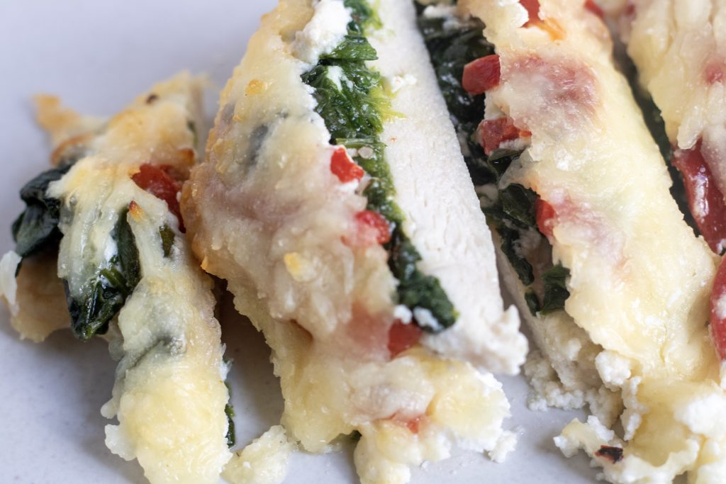 Oven Baked Chicken Breasts With Spinach Cheese Wine A Little Cook A Lot